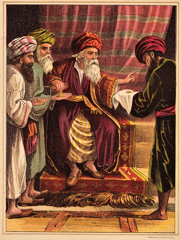 A rich man gave servants different amounts to invest. He rewarded those who invested wisely and took away from the servant who hid the money, thinking his master was cruel. Color image. Bible theology. Christianity. Illustration published 1879. Source: Original edition is from my own archives. Copyright has expired and is in Public Domain.