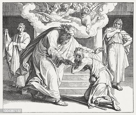 The Parable of the Compassionate Father (Luke 15, 11 - 24). Wood engraving after a drawing (ca. 1855/60) by Julius Schnorr von Carolsfeld (German painter, 1794 - 1872), published in 1890.