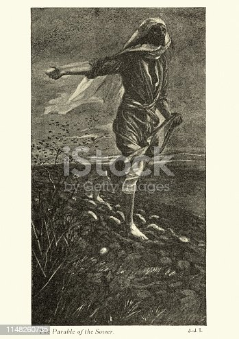 Vintage engraving of Parable of the Sower by James Tissot