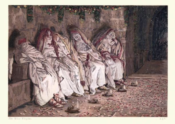 Parable of the Ten Virgins vector art illustration