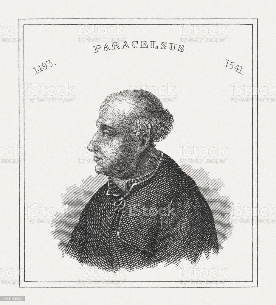 Paracelse (1493-1541), médecin Suisse-allemand, gravure sur acier, publiée en 1843 - Illustration vectorielle