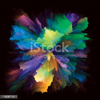 Color Emotion series. Design composed of color burst splash explosion as a metaphor on the subject of imagination, creativity art and design