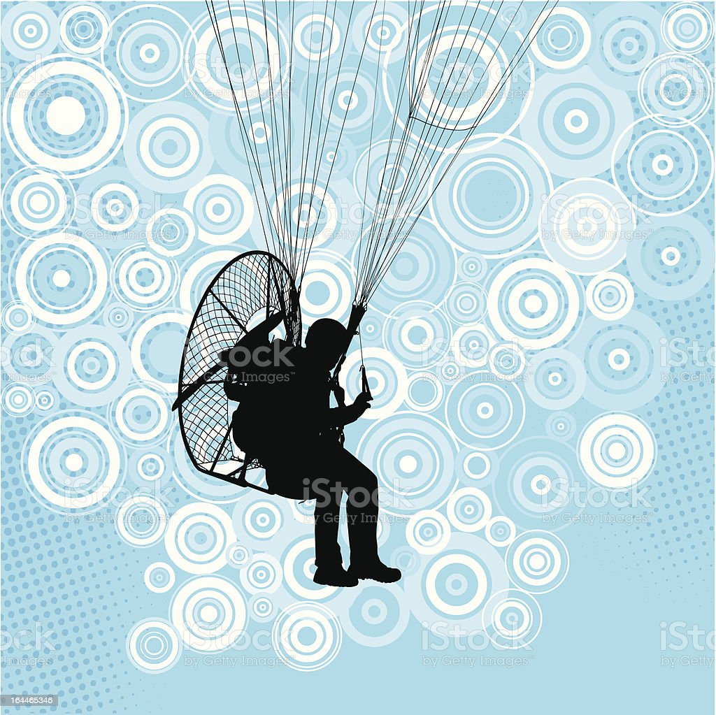 Paraglider flight with paramotor royalty-free stock vector art