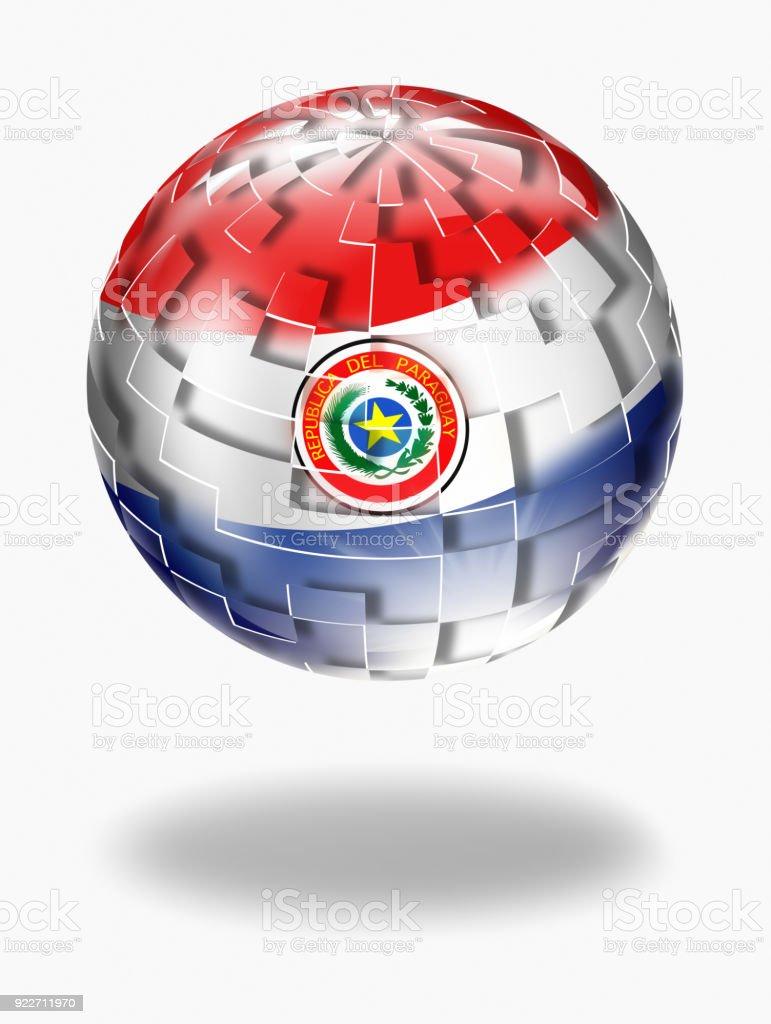Esfera de botón de Paraguay con bandera paraguaya aislado en blanco - ilustración de arte vectorial