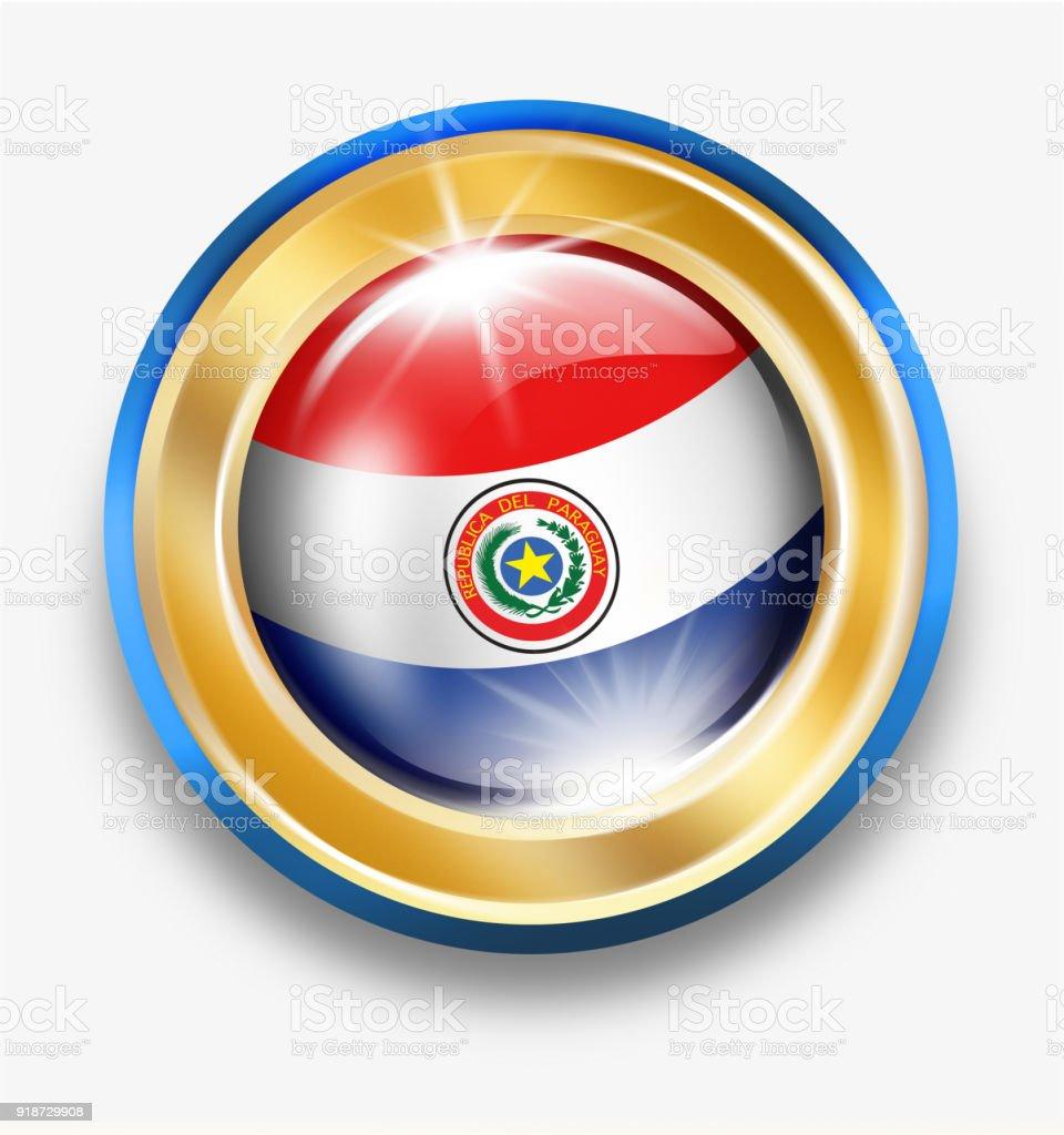 Botón de oro del Paraguay con bandera paraguaya aislado en blanco - ilustración de arte vectorial