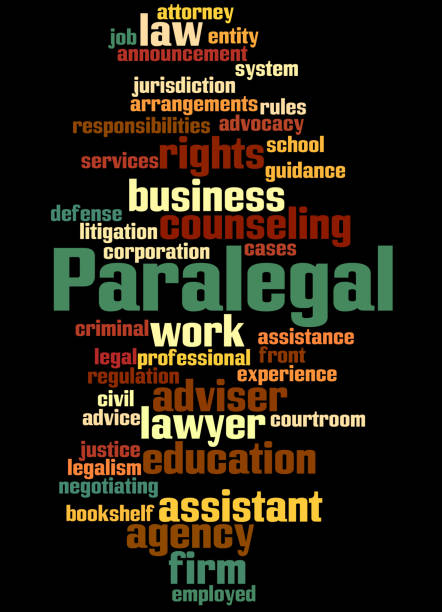 paralegal, word cloud concept 2 - paralegal stock illustrations, clip art, cartoons, & icons