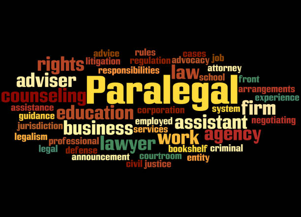 paralegal, word cloud concept 3 - paralegal stock illustrations, clip art, cartoons, & icons