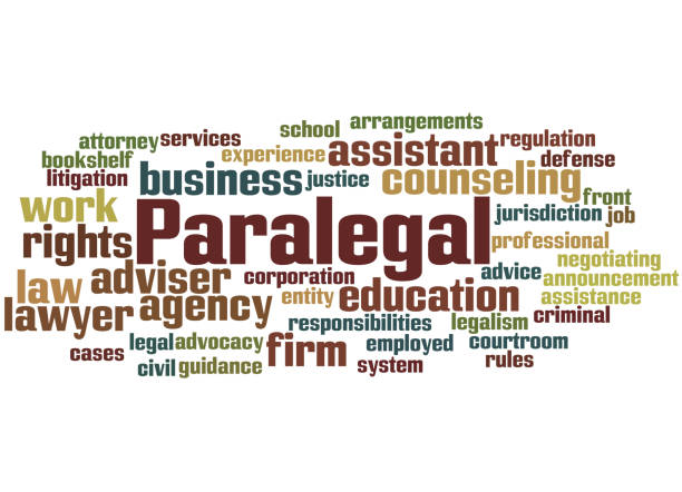 paralegal, word cloud concept 5 - paralegal stock illustrations, clip art, cartoons, & icons