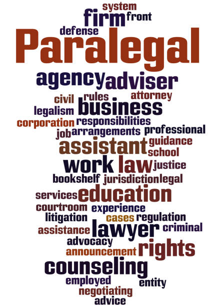 paralegal, word cloud concept - paralegal stock illustrations, clip art, cartoons, & icons
