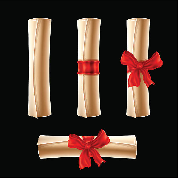 Parchment Scrolls With Red Ribbons Vector Art Illustration Of Rolled Up