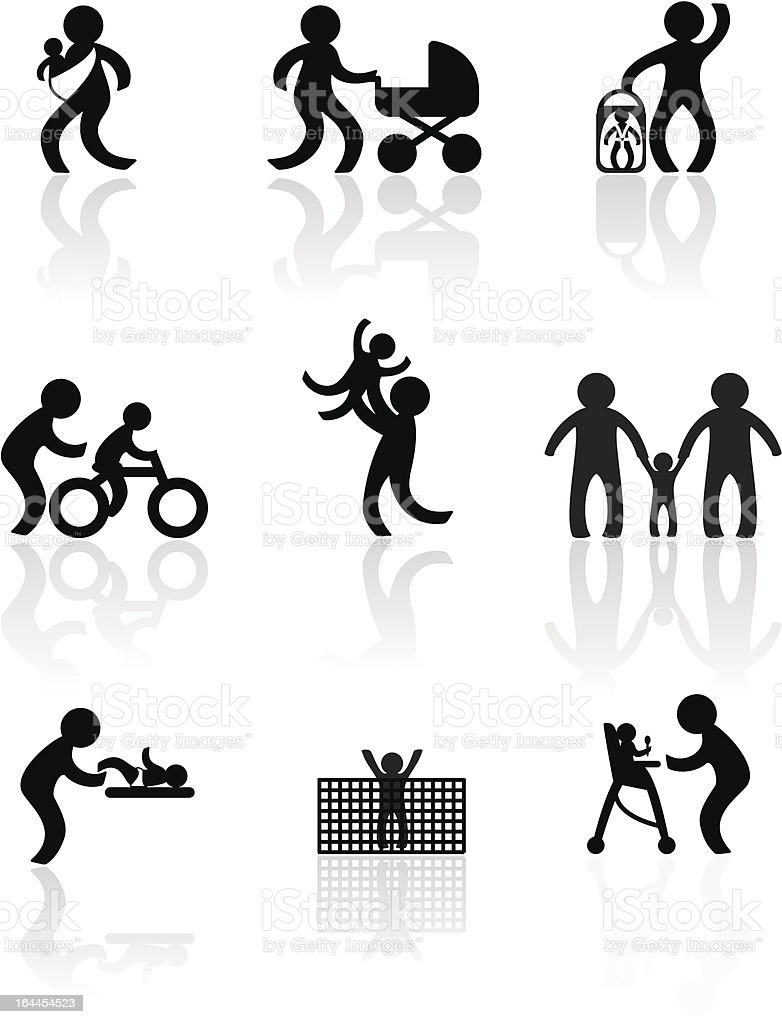 Parenting in silhouettes vector art illustration