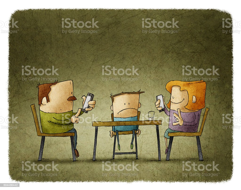 Parents addicted to smartphones vector art illustration
