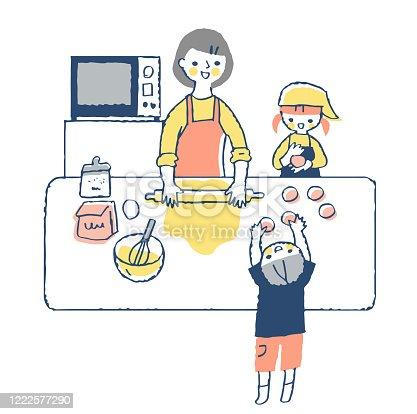 istock Parents and children enjoying bread making 1222577290