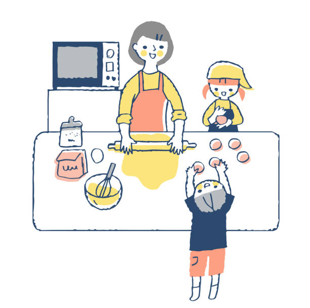 ilustrações de stock, clip art, desenhos animados e ícones de parents and children enjoying bread making - cooker happy