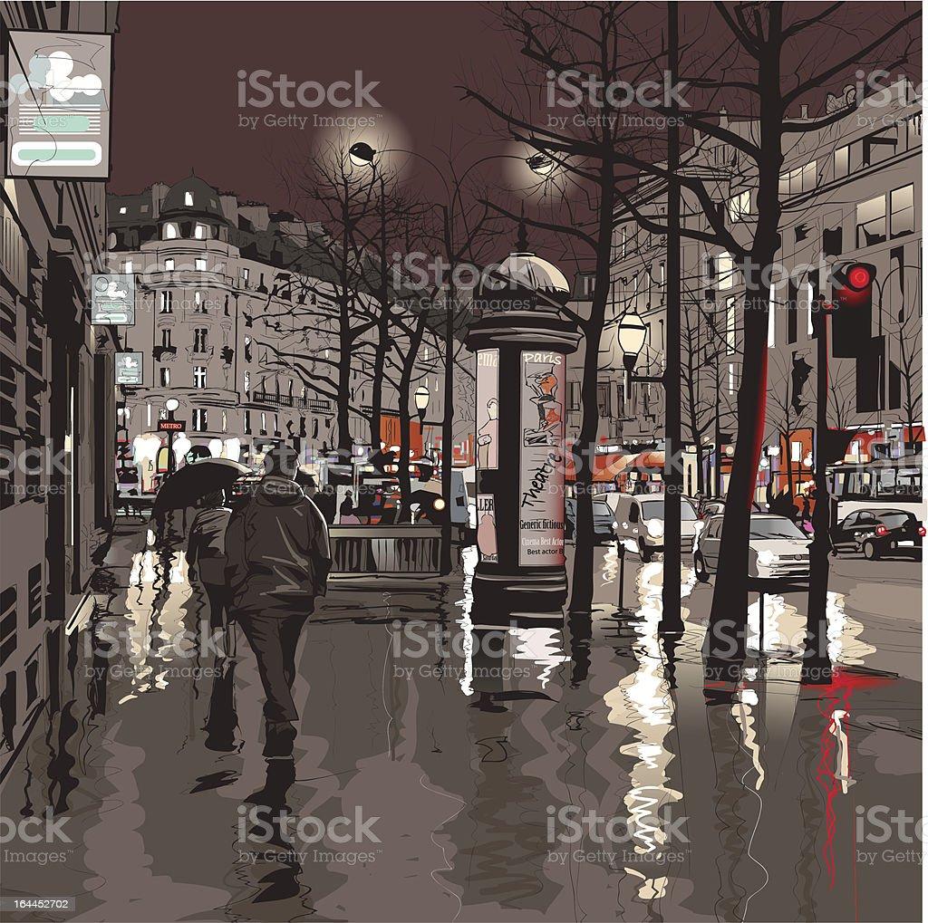 Paris at night royalty-free stock vector art