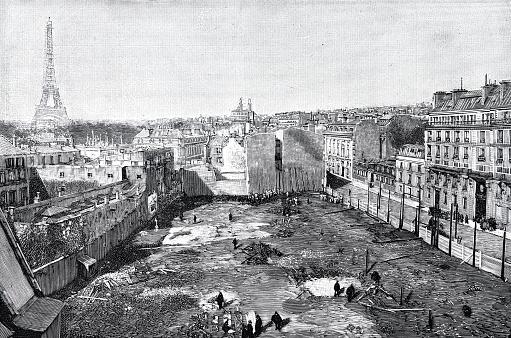 Paris, Bazar de la Charité, charity bazaar after the fire, overall aerial view, 1897