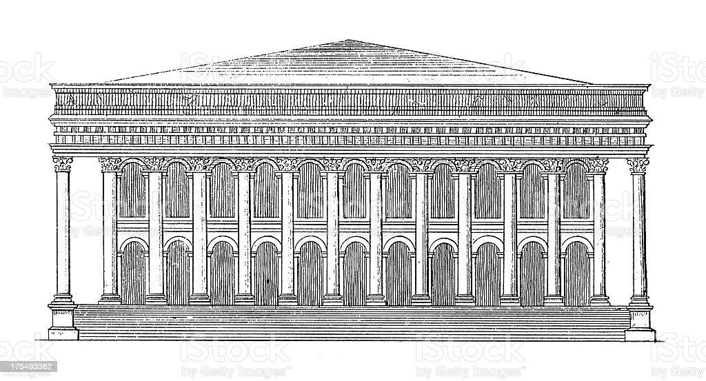 Paris Bourse, France | Antique Architectural Illustrations vector art illustration