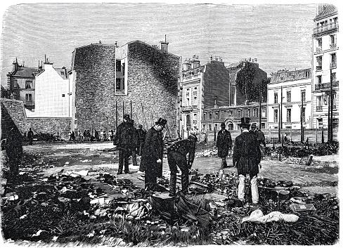 Paris, charity bazaar after the fire, men searching the remains, Bazar de la Charité, 1897