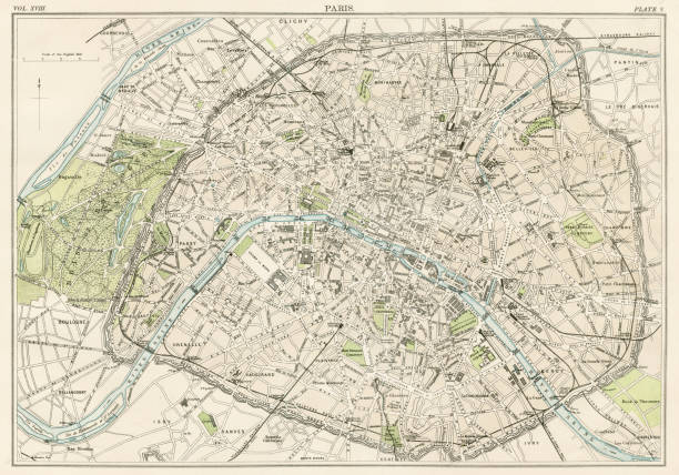 paris city map 1885 - paris stock illustrations, clip art, cartoons, & icons