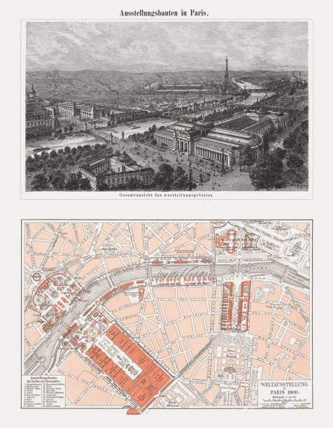 1900 Paris Exposition, France, wood engraving and lithograph, published 1900 1900 Paris Exposition - aerial view and map. Wood engraving and lithograph, published in 1900. seine river stock illustrations