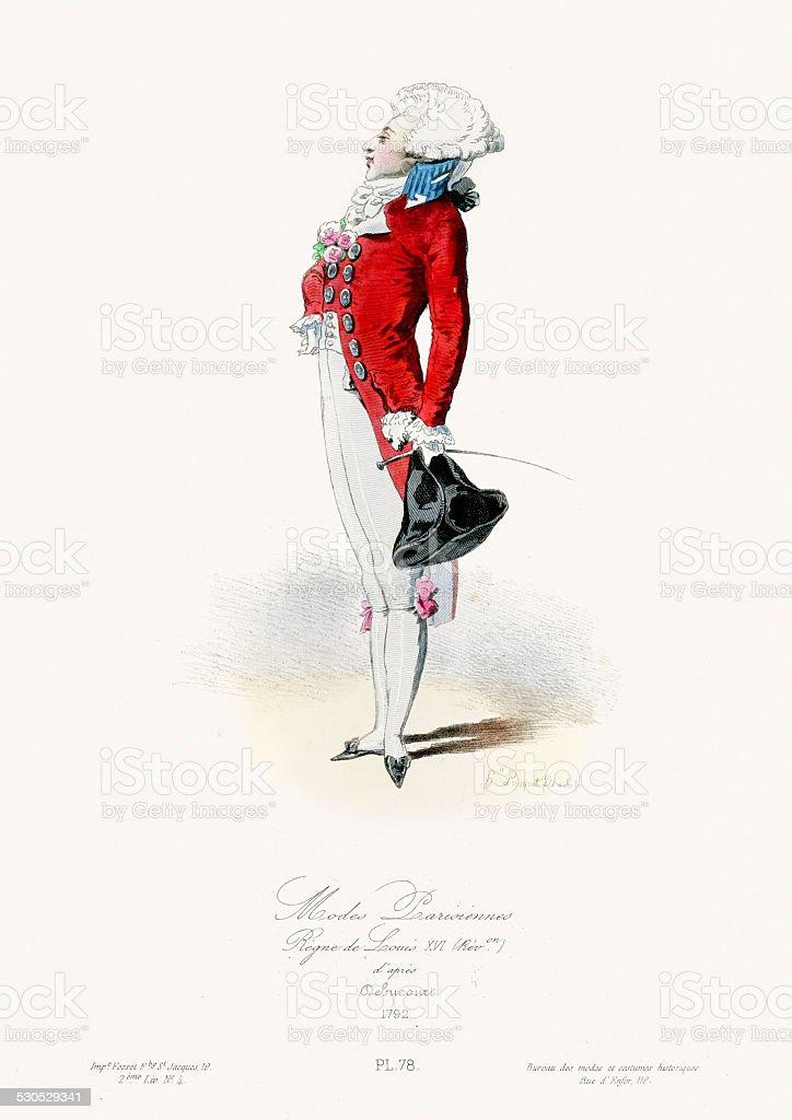 Paris Fashion of the 18th Century royalty-free stock vector art
