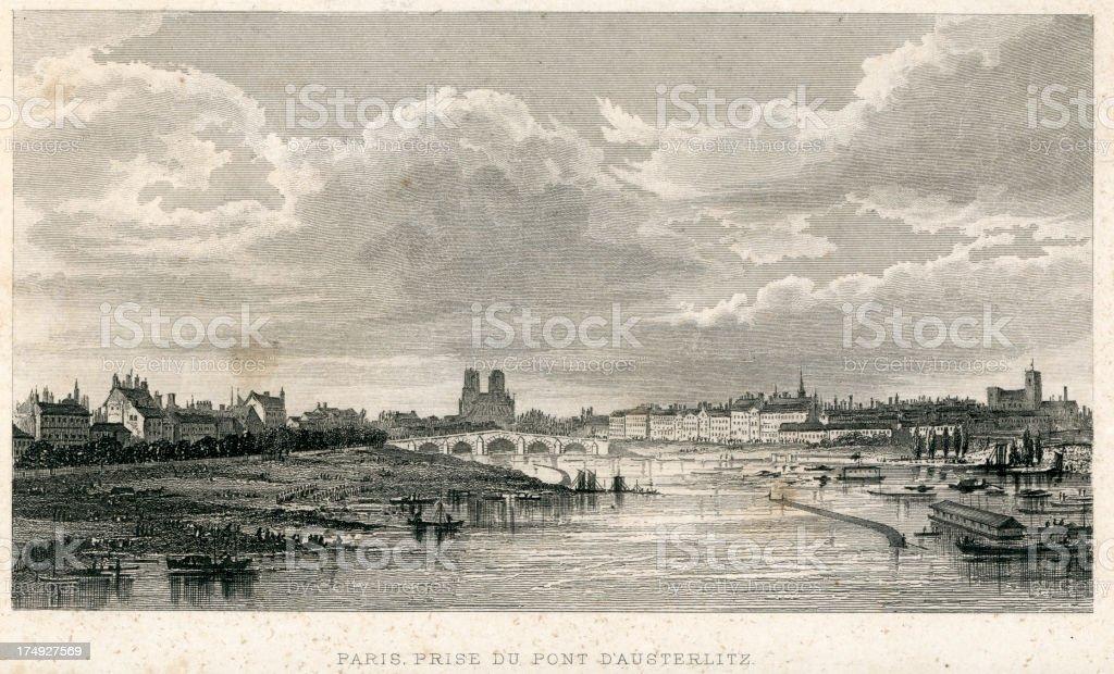 Paris, prise Du Pont D'Austerlitz royalty-free stock vector art