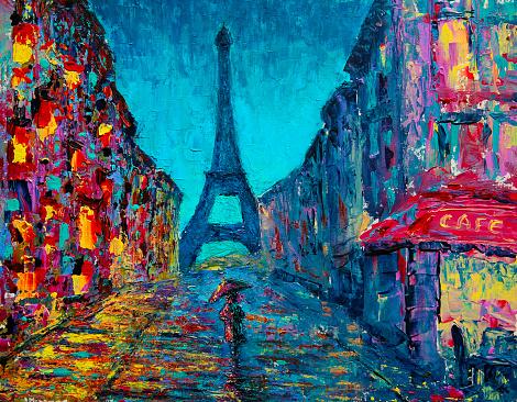 Paris street art painting