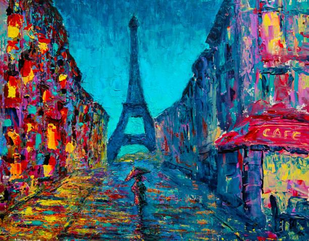 illustrations, cliparts, dessins animés et icônes de peinture d'art rue de paris - tour eiffel
