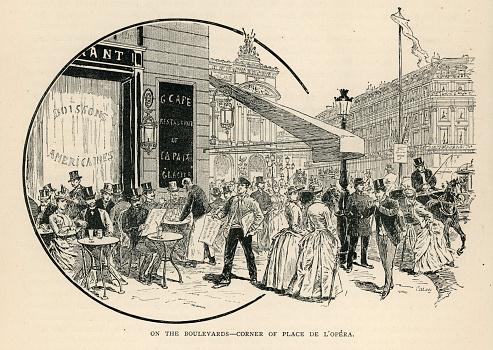 Parisian pavement café, corner of Place De L'Opera, Paris, France, 19th Century