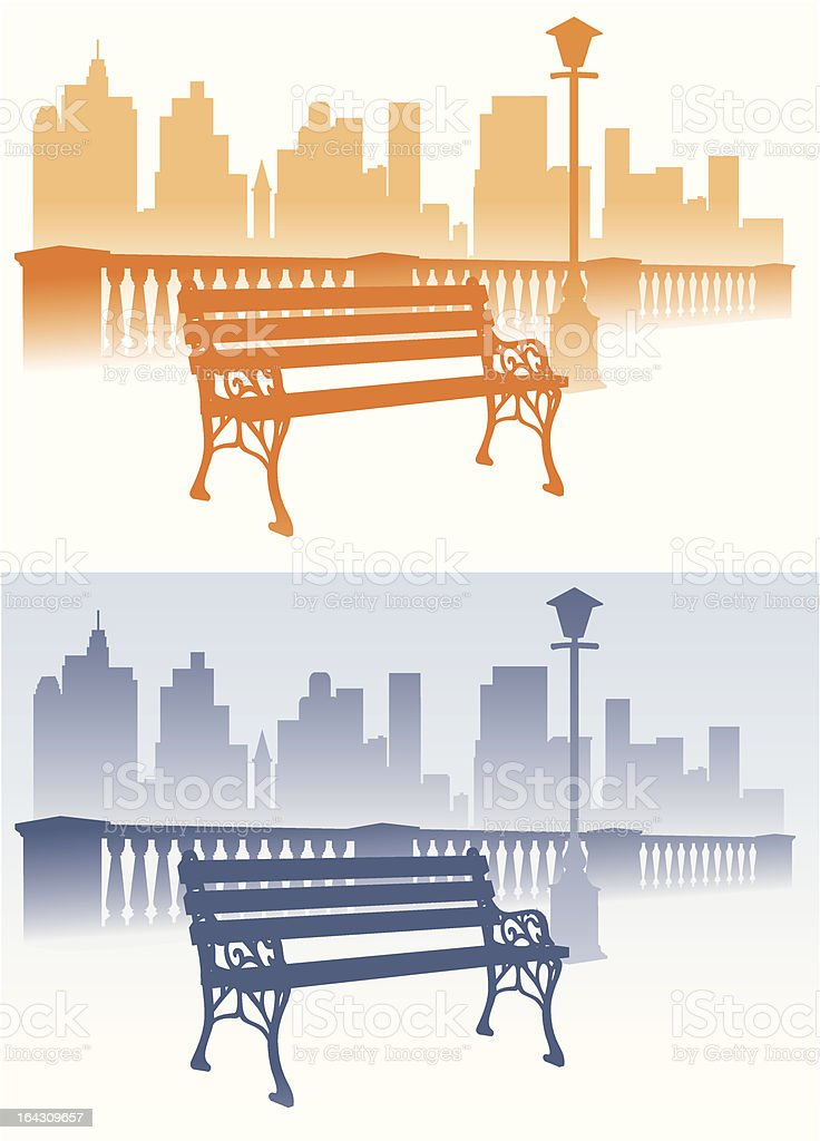 Park bench on the city background royalty-free stock vector art