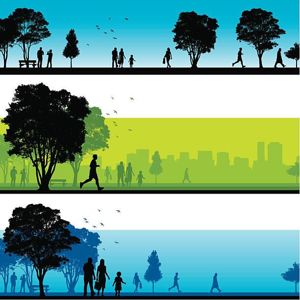 illustrazioni stock, clip art, cartoni animati e icone di tendenza di silhouette di park - city walking background