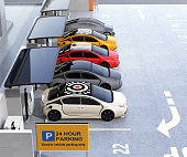 Parking lot equip with solar panel, battery and charging station