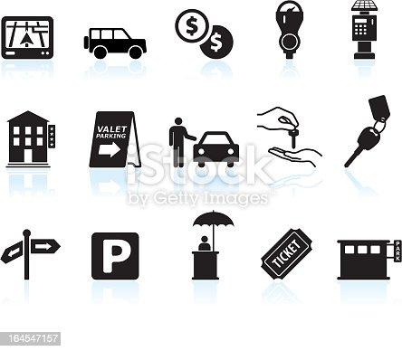 parking options black & white icon set