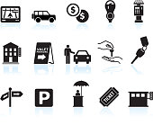 parking options black & white royalty free vector icon set