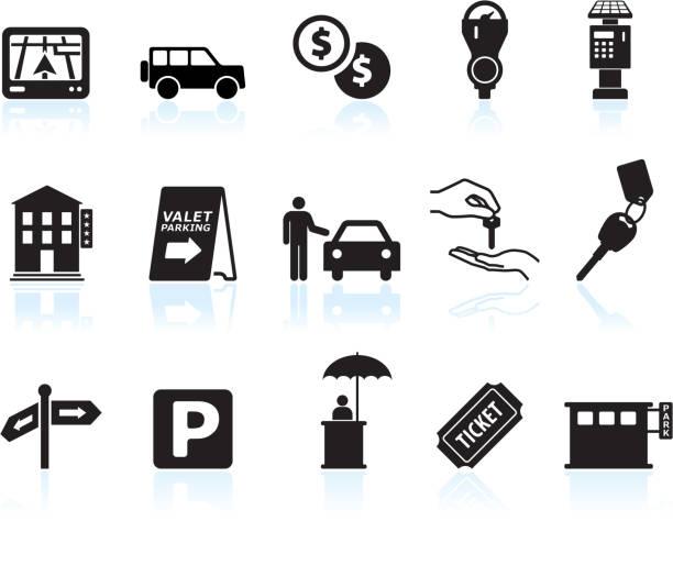 parking options black & white royalty free vector icon set parking options black & white icon set car key stock illustrations