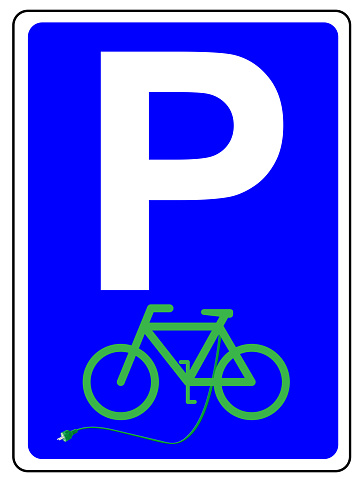 Parking sign with e-bike and charging cable