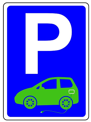 Parking sign with e-car and charging cable