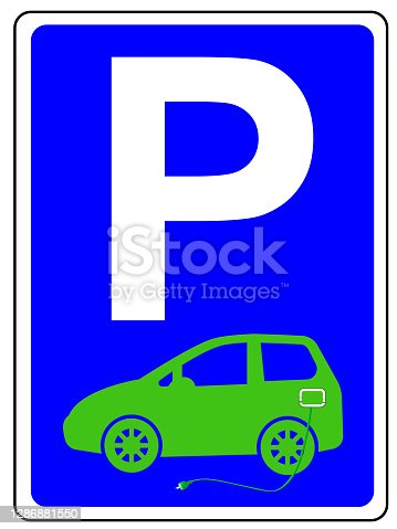 istock Parking sign with e-car and charging cable 1286881550