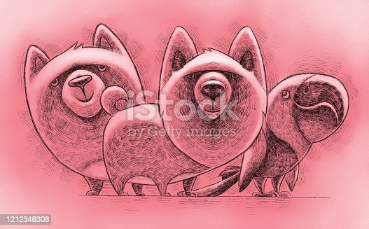 digital painting / raster illustration of parrot dog and cat