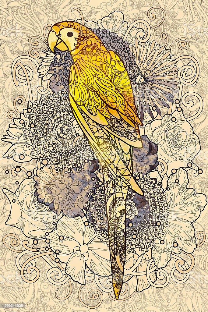 parrot line art with yellow colored on flora background Lizenzfreies parrot line art with yellow colored on flora background stock vektor art und mehr bilder von abstrakt