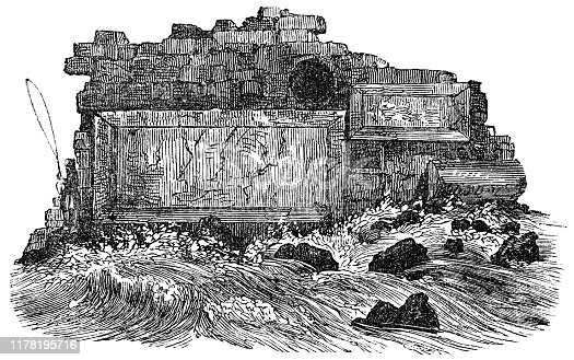 Part of the ancient City Wall in Tyre, Lebanon. Vintage etching circa mid 19th century.