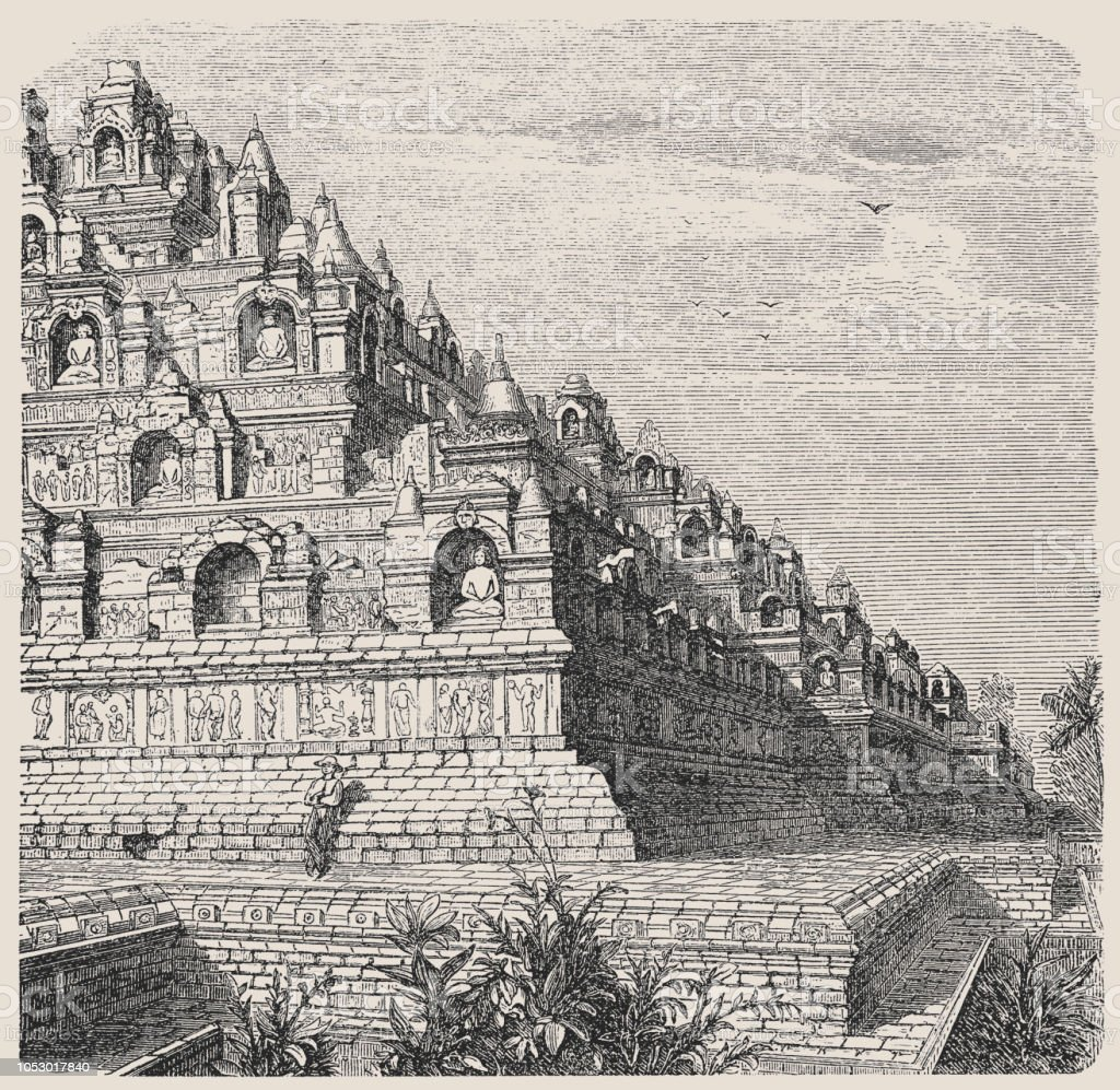 Part of the temple of Borobudur on the island of Java vector art illustration
