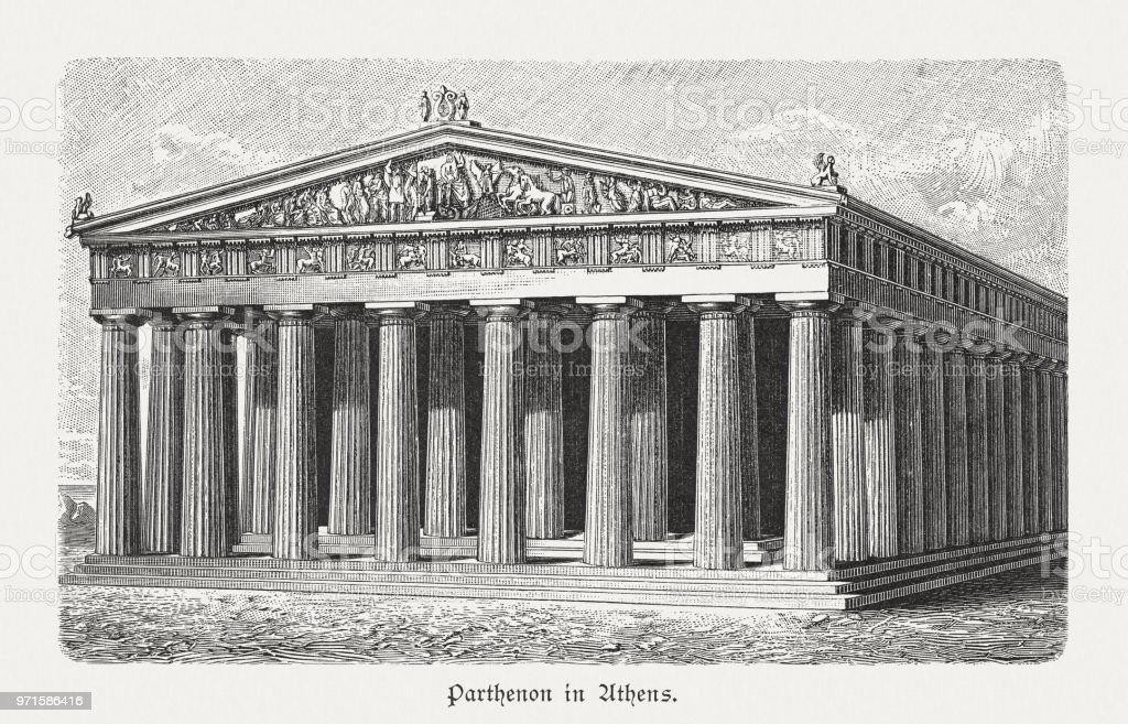 Parthenon in Athens, Greece, visual reconstruction, wood engraving, published 1897 vector art illustration