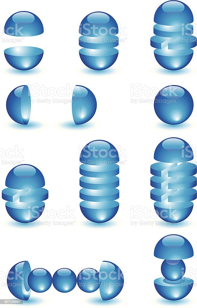 Parts of glass blue balls royalty-free stock vector art