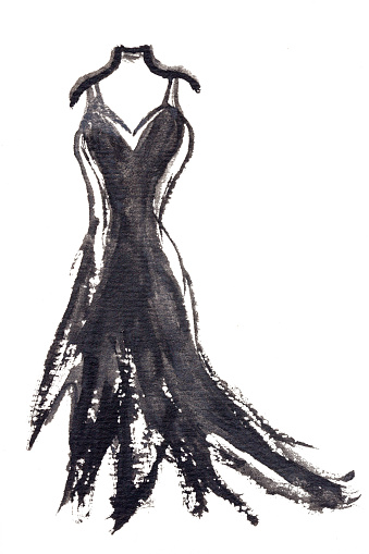 Party dress. Black vintage style party dress. Watercolor hand drawn illustration isolated on white background,
