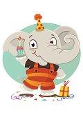 An happy baby elephant celebrating.
