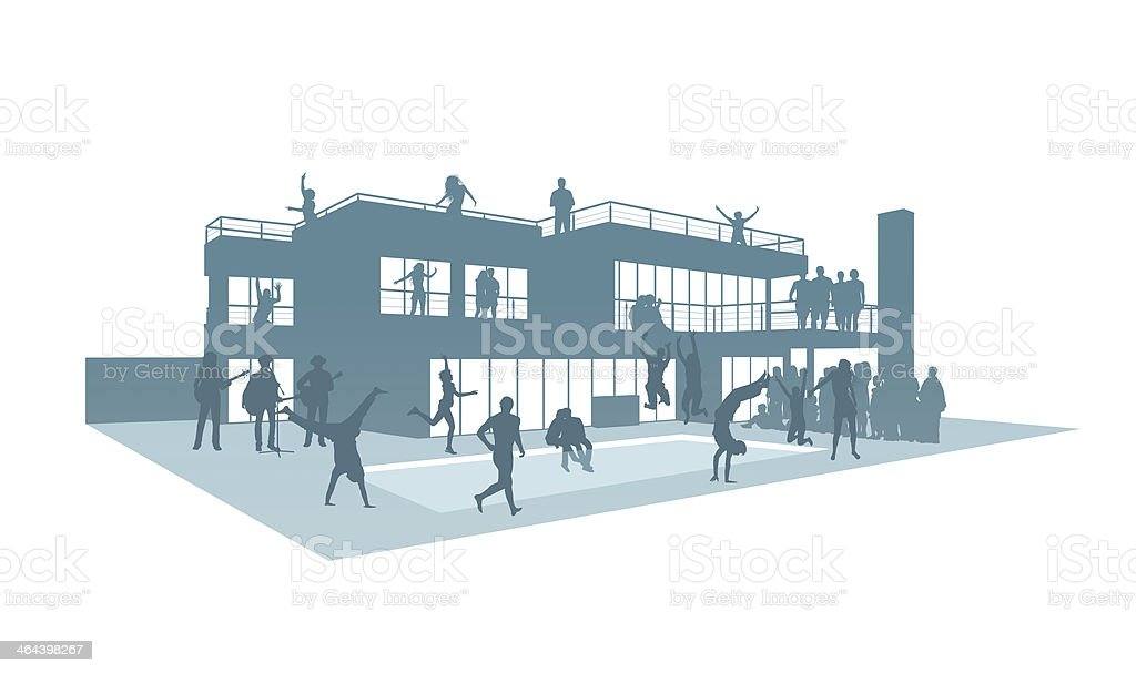 party in contemporary house with a swimming pool silhouette vector art illustration