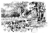 Party in the park with an amphitheater - 1888