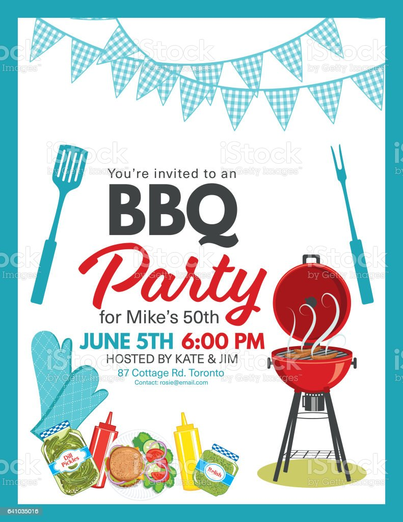 Bbq Party Invitation Template stock vector art 641035016 | iStock