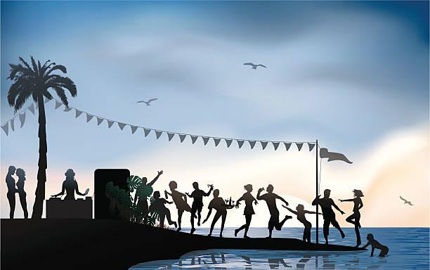 ビーチでのパーティ ベクターアートイラスト